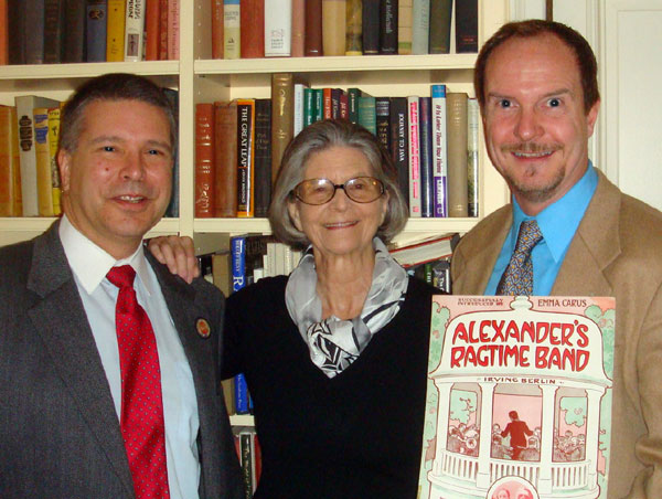 Ben and Brad with Mary Ellin Barrett and an original copy of 'Alexander's Ragtime Band'' from 1911
